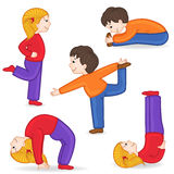 Set of isolated children doing exercises yoga Royalty Free Stock Images