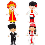 Set of isolated children of Russia and Georgia nationalities Stock Images