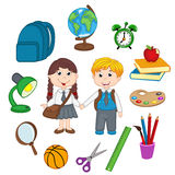 Set of isolated children and school supplies Stock Photos