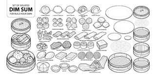 Set of isolated Chinese food, Dim Sum for build your own. Cute hand drawn food  illustration in black outline and white plan Royalty Free Stock Photo