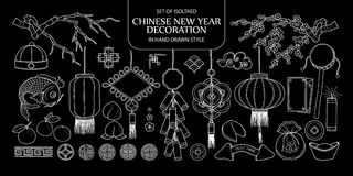 Set of isolated Chinese New year decoration. Cute hand drawn vec. Tor illustration only white outline on black background Royalty Free Stock Photos