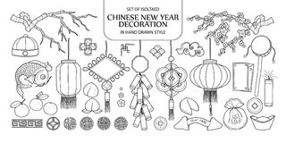 Set of isolated Chinese New Year decoration. Cute hand drawn vec. Tor illustration in black outline and white plane on white background Royalty Free Stock Photos