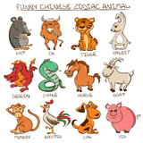 Set of Isolated Chinese Zodiac Animals Signs. Stock Photography