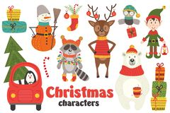 Set of isolated Christmas characters part 2. Vector illustration, eps Royalty Free Stock Image