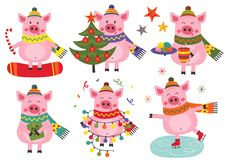 Set of isolated christmas cheerful pigs. Vector illustration, eps stock illustration