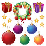 Set of isolated Christmas decorations. Wreath, balls, gift boxes, stars. Vector illustration. Royalty Free Stock Photography