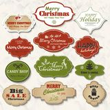 Set of isolated Christmas frames and labels. Vector illustration Stock Photos