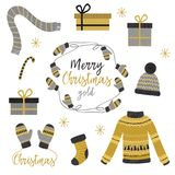 Set of isolated Christmas gold clothes and gift. Vector illustration, eps Stock Image