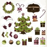 Set of isolated Christmas objects on white background. Vector illustration for your design Royalty Free Stock Photo