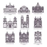Set of isolated churches of europe in thin line stock illustration