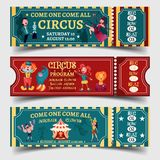 Set of isolated circus entertaining show tickets. Set of isolated tickets for circus entertaining show with strongman and lady with snake, clown with elephant on Royalty Free Stock Photography