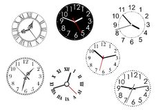 Set of isolated clock dials Stock Images