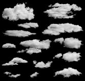 Set of isolated clouds over black. Can be used as Royalty Free Stock Photos
