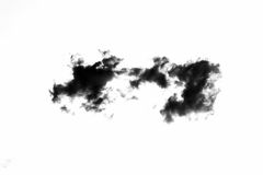 Set of isolated clouds over white background. Design elements. Black isolated clouds. Cutout extracted clouds.  Royalty Free Stock Images