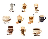 Different hot coffee with cream in cups Stock Photos