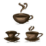 A set of isolated coffee cups on a white background. Elegant vector sketches of coffee cups royalty free illustration