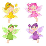 Set of isolated color fairies Royalty Free Stock Photos