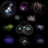Set of isolated colored fireworks explosions  Stock Image