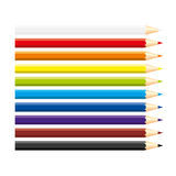 Set of isolated colored pencils: white, red, blue, violet, brown, black, green, yellow, horizontal view, on white background. Rain. Set of isolated colored Stock Images