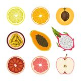 Set of isolated colored slices of lemon, orange, apricot, passion fruit, pawpaw, dragon fruit, pink grapefruit and red apple on wh. Ite background. Realistic red Stock Photos