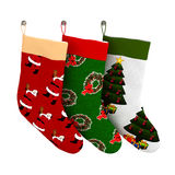 Set of Isolated Colorful Christmas Gift Socks Royalty Free Stock Photo