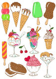 Set of isolated colorful ice cream icons. Royalty Free Stock Photography