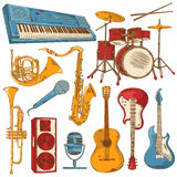 Set of isolated colorful musical instruments Royalty Free Stock Photo