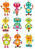 Set of isolated colorful robots. Set of isolated funny colorful robots - vector illustration, eps royalty free illustration