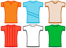 Set isolated colorful T-shirt Royalty Free Stock Photo