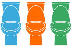Set of isolated colorful toilet Stock Photo