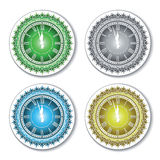 Set of isolated colorful wall clock Royalty Free Stock Photography