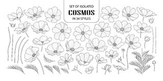 Set of isolated cosmos in 34 styles. stock photo