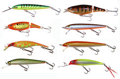 Set of isolated crank baits Royalty Free Stock Image