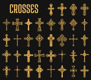 Set of isolated crosses of christian religion. Crosses of christian religion. Set of isolated orthodoxy and catholicism divine symbols in shape of cross, Jesus Royalty Free Stock Photography
