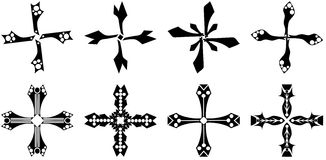 Set of isolated Crosses decorated Stock Photos