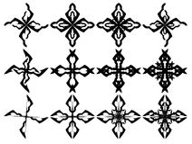Set of isolated Crosses decorated Royalty Free Stock Photography