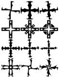 Set of isolated Crosses decorated Royalty Free Stock Images
