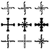 Set of isolated Crosses decorated Royalty Free Stock Photo