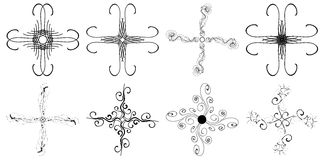 Set of isolated Crosses in black isolated Royalty Free Stock Photography
