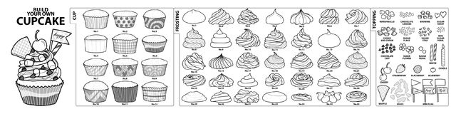 Set of isolated cups, frosting and toppings for build your own c. Upcake. Cute hand drawn style in black outline and white plane on white background royalty free illustration