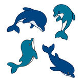 Set of isolated cute baby dolphins. Hand drawn Stock Image