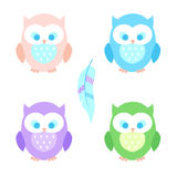Set of isolated cute cartoon owls. Feather in boho style. Nice template for kids design Royalty Free Stock Photo