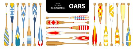 Set of isolated 20 cute colorful oars in red, blue, yellow tone. Royalty Free Stock Image