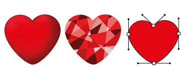 Set of isolated cute red hearts in different styles. Set of isolated cute red hearts in different styles on a white background. Vector illustration stock illustration