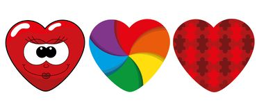 Set of isolated cute red hearts. Set of isolated cute red hearts in different styles on a white background. Vector illustration royalty free illustration