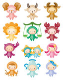Set of isolated cute zodiac symbols Royalty Free Stock Image