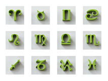 Set of isolated 3D zodiac icons for web and print. Set of isolated on white 3D zodiac icons for web and print Royalty Free Stock Images