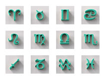 Set of isolated 3D zodiac icons for web and print. Set of isolated on white 3D zodiac icons for web and print Stock Photography