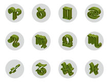 Set of isolated 3D zodiac icons for web and print. Set of isolated on white 3D zodiac icons for web and print Stock Photos