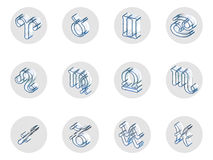 Set of isolated 3D zodiac icons for web and print. Set of isolated on white 3D zodiac icons for web and print Royalty Free Stock Image
